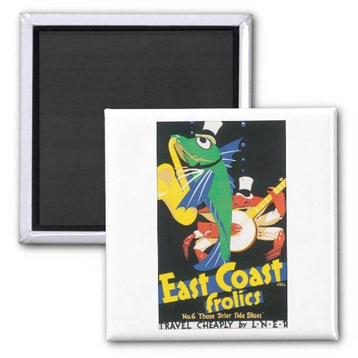 East Coast Frolics Vintage Travel Poster 2 Inch Square Magnet