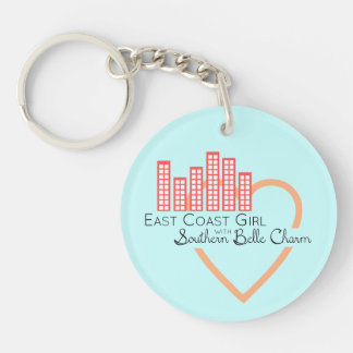 East Coast Girl with Southern Belle Charm Keychain