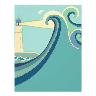 East Coast Lighthouse with Waves Letterhead
