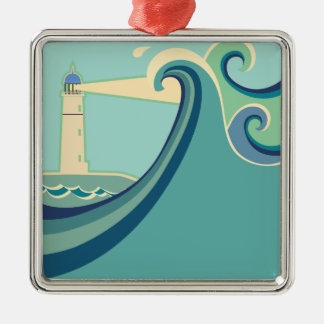 East Coast Lighthouse with Waves Metal Ornament