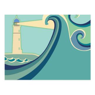 East Coast Lighthouse with Waves Postcard