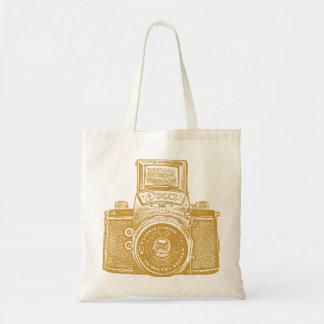 East German Camera - Caramel Brown Tote Bags
