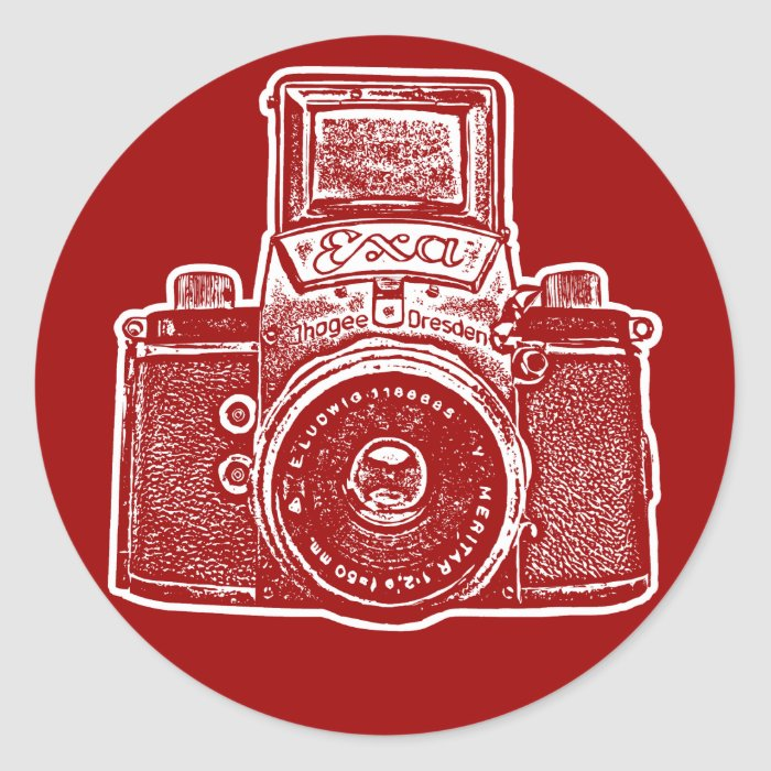 East German Camera II - Maroon Classic Round Sticker
