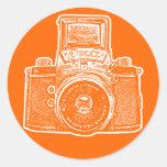 East German Camera II - Orange Round Stickers