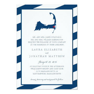 East Harwich Navy Blue Cape Cod Map | Wedding Card