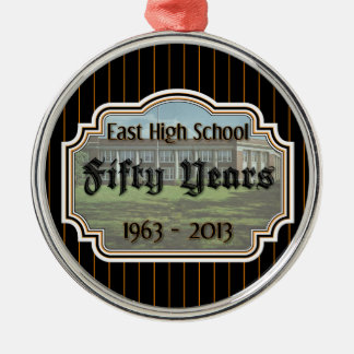 East High School Fifty Years Reunion Pinstripe Orn Metal Ornament