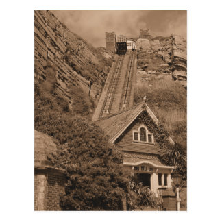 East Hill Lift Hastings England Sepia Postcard