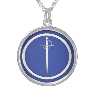 East Kingdom Order of the Silver Rapier Round Pendant Necklace