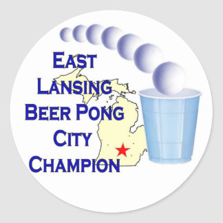 East Lansing Beer Pong Champion Classic Round Sticker