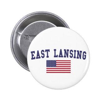 East Lansing US Flag Pinback Button