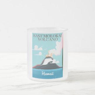 east molokai volcano vintage Hawaii travel poster Frosted Glass Coffee Mug