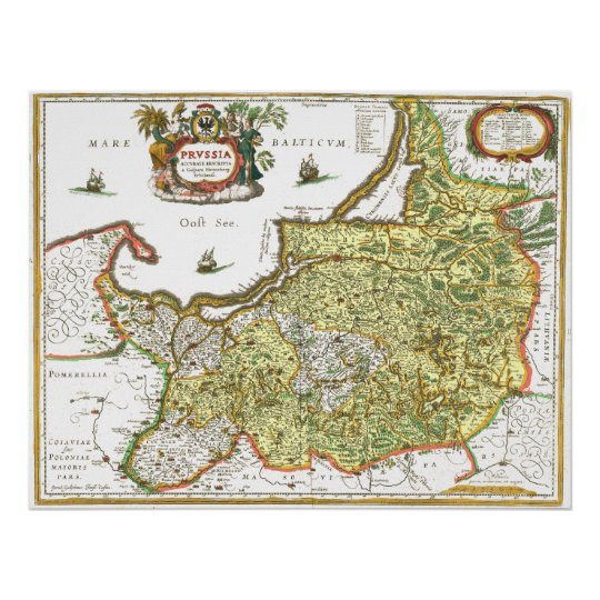 East Prussia Map Poster