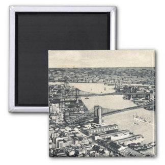 East River Bridges, New York City Vintage Magnet