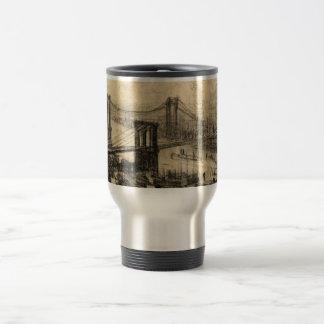 East River Bridges New York City Vintage Travel Mug