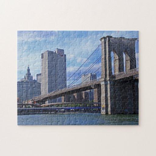 East River: Puente de Brooklyn y edificio municipa Puzzles Con Fotos
