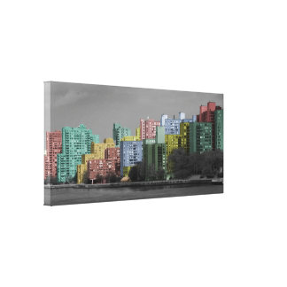 East River Skyline  Half-tone Panorama Canvas Gallery Wrap Canvas
