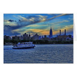 East River View of Sunset Over the NYC Skyline Greeting Card