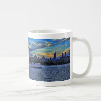East River View of Sunset Over the NYC Skyline Coffee Mug