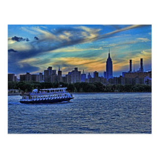 East River View of Sunset Over the NYC Skyline Postcard