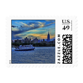 East River View of Sunset Over the NYC Skyline sm Postage
