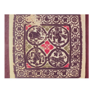 East Roman Empire tapestry showing wild beast Postcard