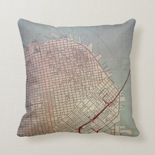 East San Francisco Topographic Map Throw Pillow | Zazzle.com