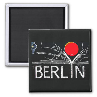 East Side Gallery, Berlin Wall, Barbed Wire/Red Su 2 Inch Square Magnet