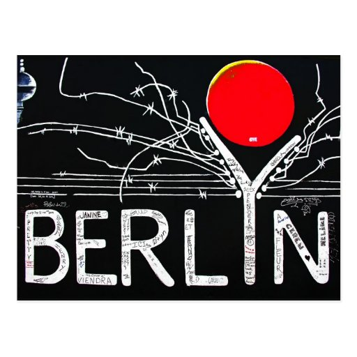 East Side Gallery, Berlin Wall, Barbed Wire/Red Su Postcard