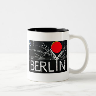 East Side Gallery, Berlin Wall, Barbed Wire/Red Su Two-Tone Coffee Mug