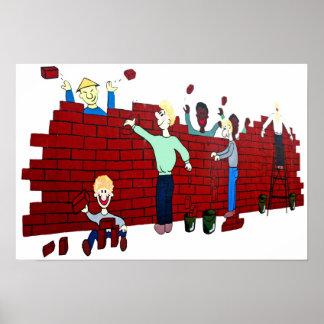 East Side Gallery,Berlin Wall,Collapse,Cartoon(2) Print