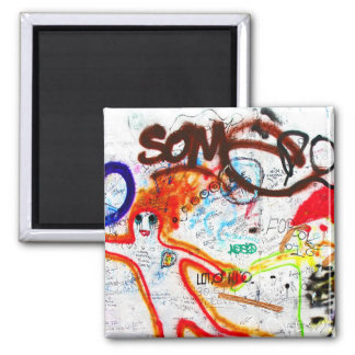 East Side Gallery, Berlin Wall, Graffiti (2) 2 Inch Square Magnet