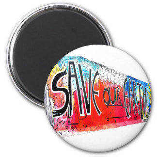 East Side Gallery, Berlin Wall, Save Our Earth (2) 2 Inch Round Magnet