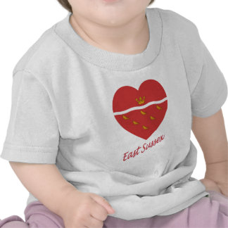 East Sussex Flag Heart with Name Tshirts