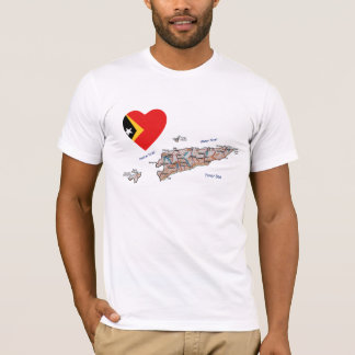 East Timor Flag Heart and Map T-Shirt