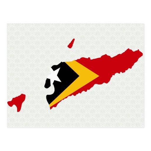 East Timor Flag Map full size Postcard