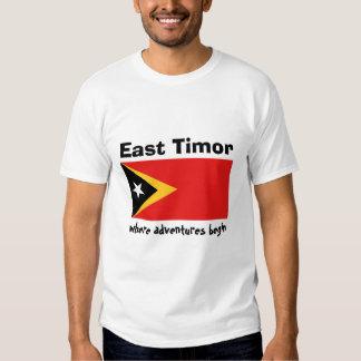 East Timor Flag + Map + Text T-Shirt