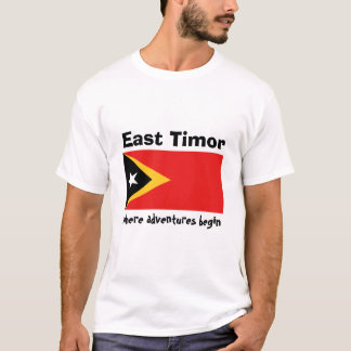 East Timor Flag + Map + Text T-Shirt