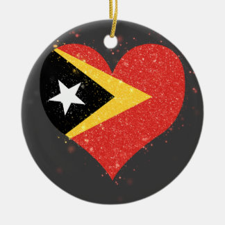 East Timor Flag Shining Unique Double-Sided Ceramic Round Christmas Ornament