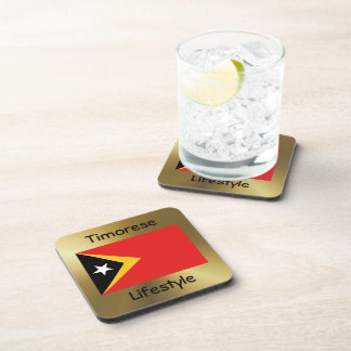 East Timor Flag+Text Coaster