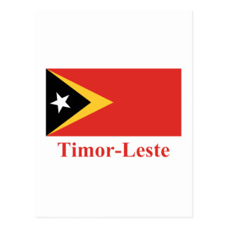 East Timor Flag with Name in Portuguese Postcard