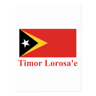 East Timor Flag with Name in Tetum Postcard