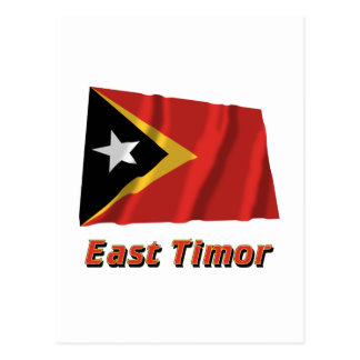 East Timor Waving Flag with Name Postcard