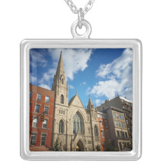 East Village Church and Buildings Square Pendant Necklace