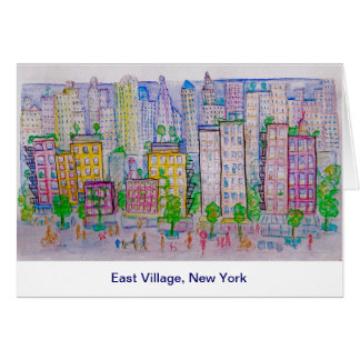 East Village, New York, Skyline, Street scene Stationery Note Card