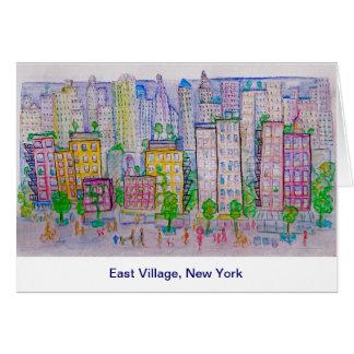 East Village, Nueva York, horizonte, escena de la  Tarjeton