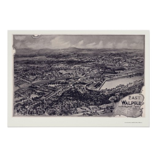 East Walpole, MA Panoramic Map - 1898 Poster