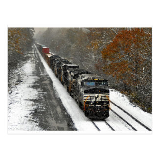 Eastbound Stack Train in Snow Post Cards