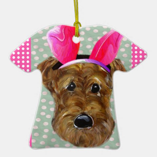 EASTER AIREDALE Double-Sided T-Shirt CERAMIC CHRISTMAS ORNAMENT