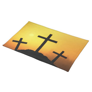 Easter and Palm Sunday Crosses and Scenes Cloth Placemat