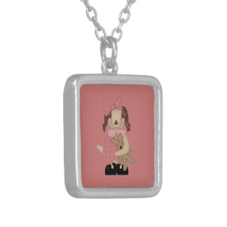 Easter Annie Loving A Teddy Bear Silver Plated Necklace